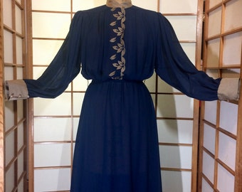 1980s does 1940s Sheer Pleated Puff Sleeve  Embroidered Secretary Day Dress Blue and Beige M