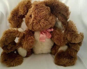 Curly Lops Bunny Rabbit Plush Applause Vintage 1988 Stuffed Animal Curly Lop Ears Brown Easter Bunny
