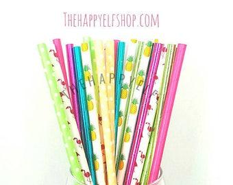 Flamingo party straws. tropical straws. pineapple straws. flamingo decor. flamingo party supply. paper straw. watermelon straws. luau party
