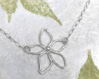 Silver Flower Necklace | Fun Necklace | Botanical Jewelry | Nature Jewelry | Flower Jewelry | Garden Jewelry | Metal Clay Jewelry | Spring