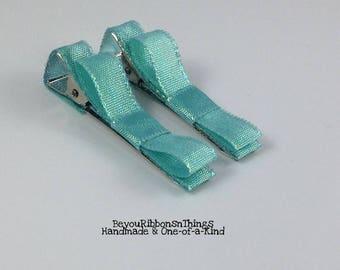 Mermaid Blue | Hair Clips for Girls | Toddler Barrette | Kids Hair Accessories | Ribbon | No Slip Grip | Summer