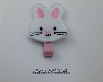 Bunny | Hair Clip for Girls | Toddler Barrette | Kids Hair Accessories | Light Pink Grosgrain Ribbon | Felties | No Slip Grip