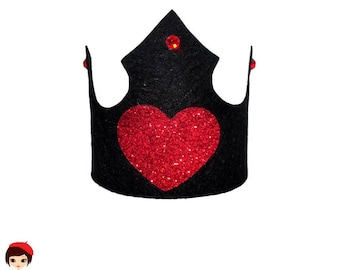 Queen of Hearts Crown - lightweight Black Felt or Foamy Clip Headband - Princess Black Swan