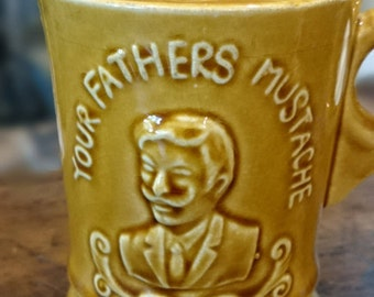 Vintage Mustache Cup/Your Fathers Mustache/ Made in Japan/ Harvest Gold/ Father's Day Gift/ Man's Birthday Gift/ Mustache collectible