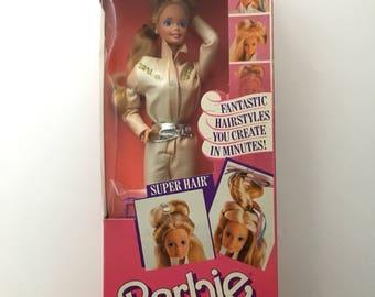 Vintage Super Hair Barbie, boxed Super Hair Barbie, 1986 Super Hair Barbie, hair style barbie, jumpsuit barbie, NRFB Barbie, 80s barbie doll
