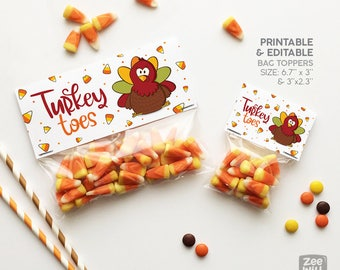 Thanksgiving bag topper, Turkey Toes, Turkey, Bag toppers, Editable, gift bag topper, PRINTABLE, DIY