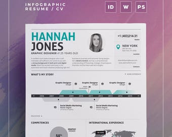 Infographic Resume Vol.2 | Word, Indesign And Photoshop Template |  Professional And Creative  Infographic Resume