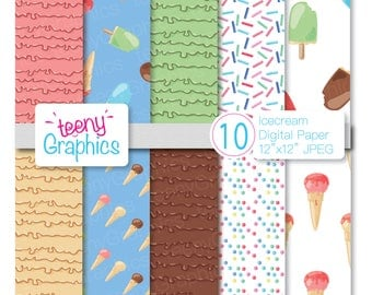 Ice Cream Digital Paper,Small Commercial Use, Scrapbook papers, Download,Scrapbooking,Pattern,Page, Paper, Crafts- Paper01