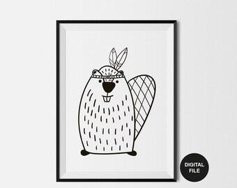 Beaver Illustration Childrens Art Print, Digital Download,Printable Poster Black & White Nursery Wall Art, woodland animal Modern Kids Print