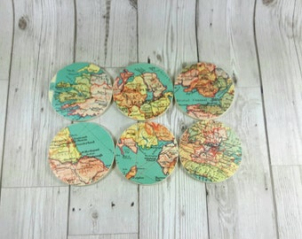 Custom Map Coasters, Set of 6, you choose your favourite UK areas