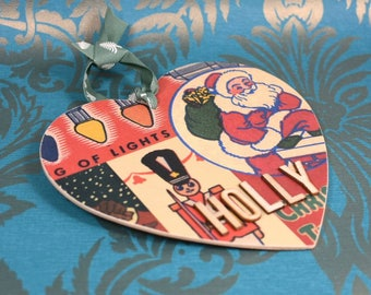 Personalised Christmas Tree Decoration, Custom Tree Decorations, Vintage theme, Christmas gifts, Decoupaged Heart, Xmas Tree Decoration