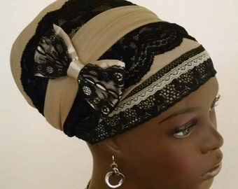Exquisite sinar tichel with bow, tichels, chemo scarves, head scarves, hair snoods