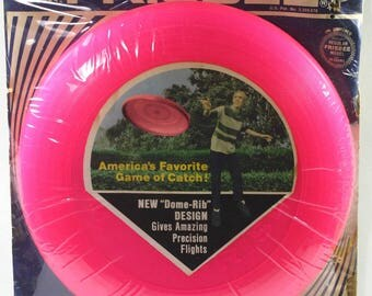 Vintage WHAM-O Toy Frisbee And Original Card 1970-Hot Pink Frisbee
