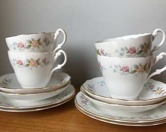 Royal Stuart Vintage Tea Set, Light Pink and Yellow Floral Tea Cups, Saucers and Side Plates, Bone China Teacup Trios, Mid Century