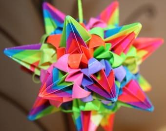 Origami Rainbow Spike Ball Kusudama Hanging Ornament