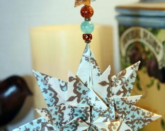 Origami Elegant French Aqua Gold Cream Triple Layer Star Hanging Ornament