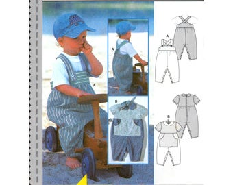 03 Burda 3021 Baby and Toddlers' Short Sleeved Jumpsuit or Overalls, Uncut, Factory Folded, Sewing Pattern Multi Size 3M-2Y