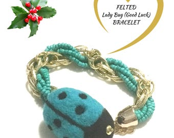 Jade Felted bracelet, Lady Beetle Charm Bracelet, Holiday Gift Guide,Versatile bracelet,Multi Use Bracelet, Key Chain,Needle Felt Bracelet