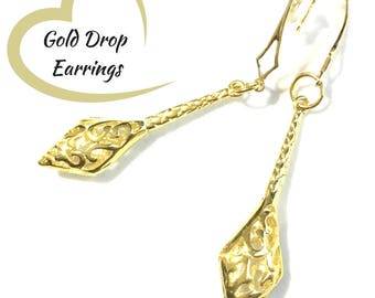 Stunning Gold Drop Earrings, Unique Shaped Embossed Gold Earrings on Matching Shaped Hooks, On Trend Earrings, Beautiful Earring Gift