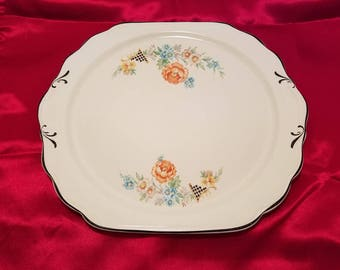 CROWN IVORY PLATTER Scalloped Tray Pretty Flowers Floral Lattice Platinum Scalloped Country Cottage Kitchen Vintage Retro Antique