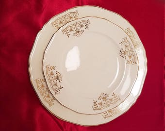 CROWN IVORY PLATES Gold Leaves Scrolls Dinner Luncheon Salad Scalloped Country Cottage Kitchen Vintage Retro Antique