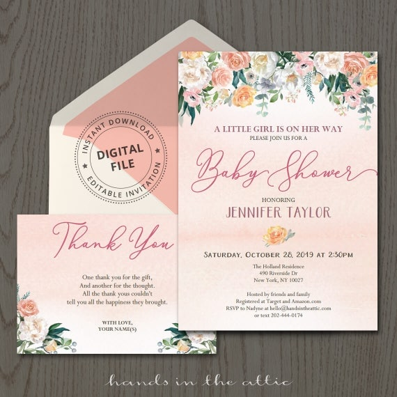 floral baby shower invitation with thank you card pink. Black Bedroom Furniture Sets. Home Design Ideas