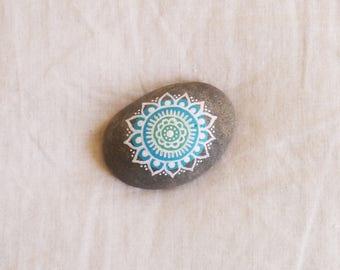 Hand-Painted Mandala Rock - Australian beach pebble