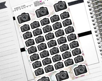 "DECORATIVE - ""Black DSLR Cameras"" Individual Decorative Stickers - Decorative Planner Stickers"