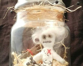 Voodoo bottle-art doll-voodoo-magic-witchcraft-OOAK-decoration-macabre-poppet-ritual-crystal-freak-