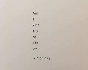 Coldplay love quote hand typed on antique typewriter gift girlfriend boyfriend husband wife wedding present birthday valentines scrapbooking
