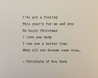 Fairytale of New York quote hand typed on antique typewriter