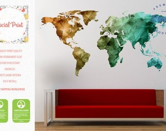 World map decal etsy world map wall decal bronze green teal free shipping easy install home decoration sciox Choice Image