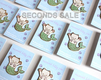SECONDS SALE - Enamel Pin, Mermaid Cat Pin, Hard Enamel, Second Pins, B-grade, Imperfect, Defect