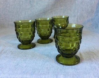 Vintage Indiana Glass Avocado Green Whitehall Colony Juice Glasses, Set of 4, Mid Century Green Glasses