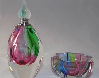 Vintage Murano Faceted Perfume bottle and trinket dish