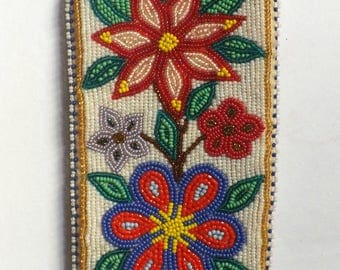 Genuine Athabascan Indian Hand-Beaded Eyeglass Case