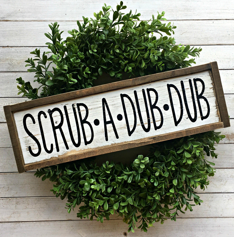 Scrub A Dub Dub Pallet Sign Bathroom Sign Farmhouse