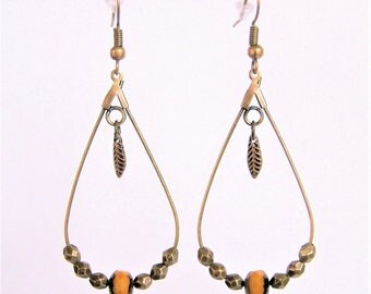 Earrings drop Orange faceted beads