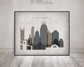 Cincinnati skyline, Cincinnati art print, Poster, Wall art, Ohio, Vintage style, office decor, Travel, Gift, Home Decor, ArtPrintsVicky