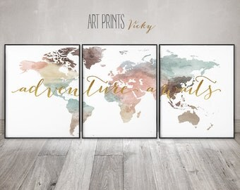 World map set of 3 prints, Adventure awaits print, World map wall art, 3 pieces wall art, World map watercolour, travel map ArtPrintsVicky