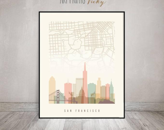 San Francisco map, San Francisco poster, skyline San Francisco print, California, Wall art, Travel, City poster, Home decor,  ArtPrintsVicky