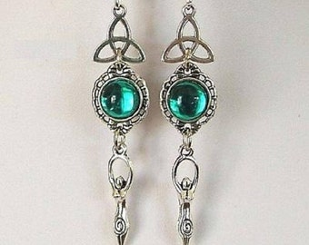Moon Goddess Triquetra Earrings ~ 925 Sterling Silver Ear Hooks ~ Antique Silver Settings ~ Pagan ~ Wicca ~ Gift Wrapped ~ Free UK Postage