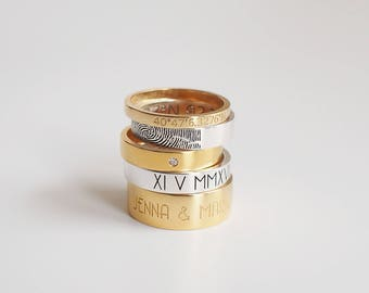 Coordinates Ring / Latitude Longitude Ring / Actual Fingerprint Ring / Location Ring / Couple Ring - #CR08
