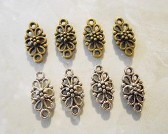 20 Bronze or Silver Connectors Flower Connectors Filigree Connectors Bronze Connectors Silver Connectors Necklace Bracelet Earring Connector