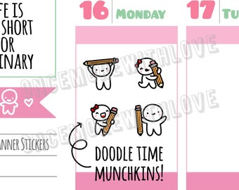 Munchkins -  Doodle Art Time Drawing Munchkins with Pencils Planner Stickers (M294)