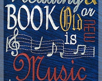 Reading is Music to my Ears Subway Art Embroidery Saying, Music Pocket Pillow Saying, Reading Pillow