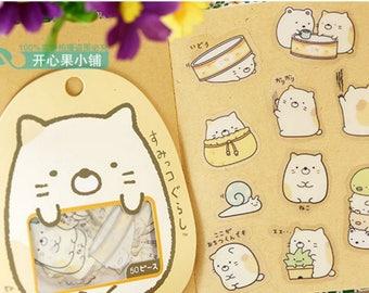 San-X Sumikko Gurashi Stickers / San-X Sticker Flakes / Kawaii Stickers / Cute Stickers / Japanese Stickers / Kawaii Neko Cat Stickers