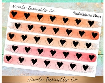 Heart Icons in Nude Colored Paint Strokes- Planner Stickers