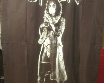 ALICE COOPER vintage 1980's cloth poster - flag - banner - Alice with his snake!