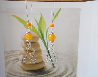 Yellow Rabbit pendant Pearl Earrings